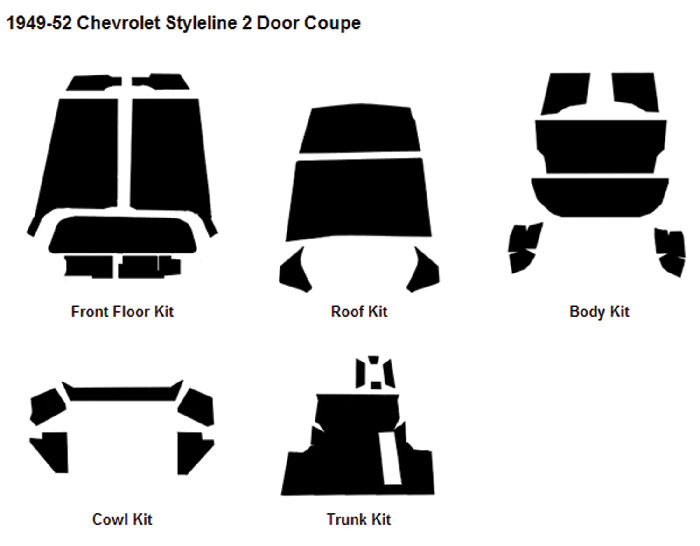 Chevrolet Parts -  Body Sound Deadener 1949-52 Styleline 2-Door Sedan AcoustiShield Kit