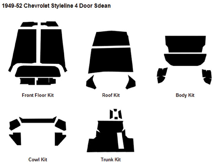 Chevrolet Parts -  Body Sound Deadener 1949-52 Styleline 4-Door Sedan AcoustiShield Kit