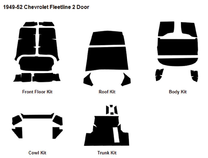 Chevrolet Parts -  Body Sound Deadener 1949-52 Fleetline 2-Door Sedan AcoustiShield Kit