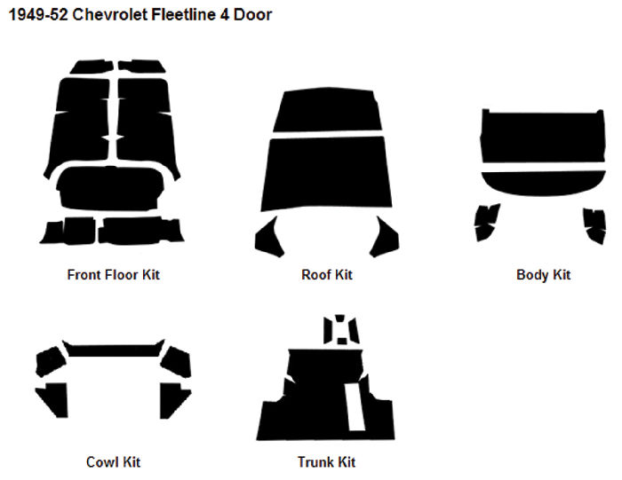 Chevrolet Parts -  Body Sound Deadener 1949-52 Fleetline 4-Door Sedan AcoustiShield Kit