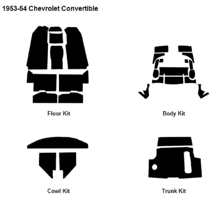 Chevrolet Parts -  Body Sound Deadener/ Insulation - 1953-54 Convertible AcoustiShield Kit