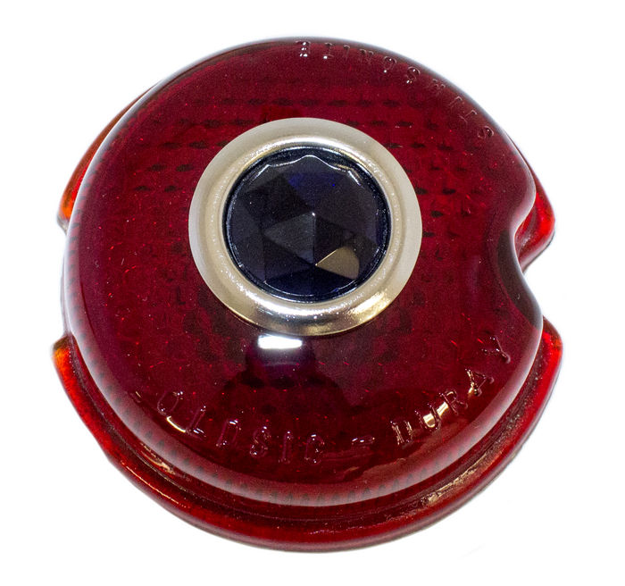 "Chevrolet Parts -  Lens - Tail Light. 3"" Glass With Blue Dot"