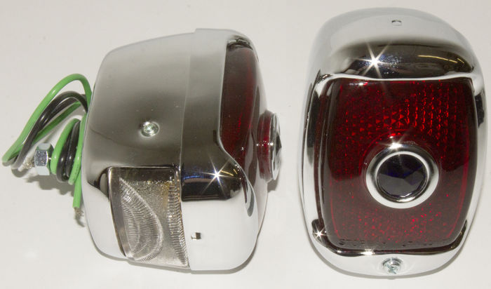 Chevrolet Parts -  Tail Light Assembly With Script Glass Lens & Blue Dot, Left Side. Chrome Housing With License Light