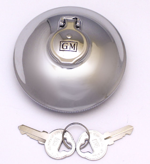 Parts -  Gas Cap- Locking- GM Script Inside Flange 38-52 All 53-54 Wagon & Sedan Delivery 38-57 Truck
