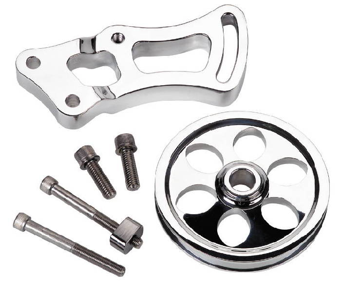 Sbc Lt1 Small Block Chevy Polished Aluminun Ribbed Valve: Chevy Parts » Power Steering Bracket & Pulley, Billet