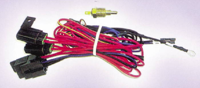 Electric Fan Wire Harness With Temp Switch & Relay, 195 Degree on