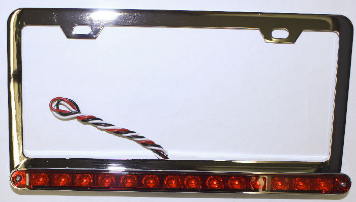 "Parts -  License Plate Frame - Chrome With 14 Red LED Lights and Red Lens - 12"" Long"