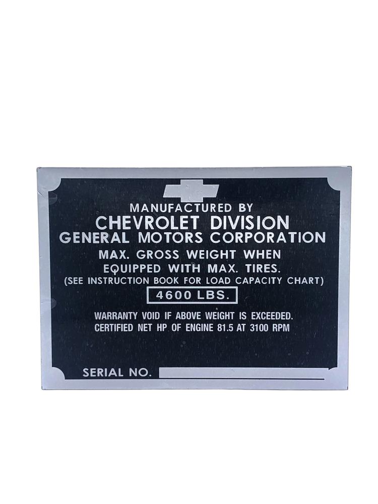 Chevy Parts 187 Data Plate Metal Door Post 1 2 Ton