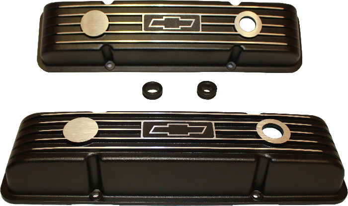 Chevy Parts Valve Covers Chevy Sb Black Aluminum With Chevrolet Bowtie Sho