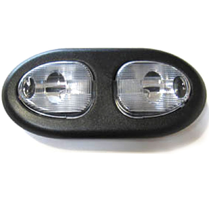 Chevy parts interior light oval double dome universal with black bezel clear for Custom interior lights for cars