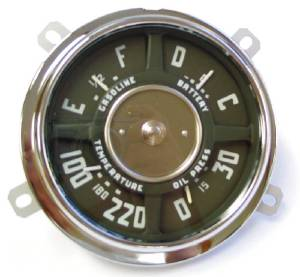 Gauge Cluster - New 6 Volt, 6-Cylinder, 0-30 Lbs. Oil, 100-220 Temp, Chevrolet Photo Main