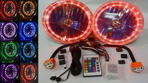 7 Inch, 12 Volt Headlight H-4 Halogens With Multi Color LED Halo, Includes Remote (No Turn Signal) Photo Main