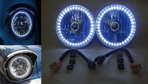 7 Inch, 12 Volt Headlight H-4 Halogens With White LED Halo (No Turn Signal) Photo Main