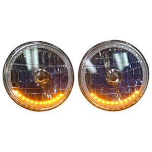 7 Inch, 12 Volt Headlight H-4 Halogens With Multi Color LED Halo, Amber Turn Signals, Includes Remote  Photo Main