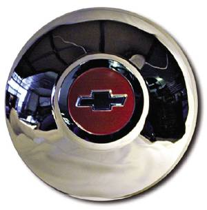 Hub Cap -Red Center, Blue Bowtie Chrome Photo Main