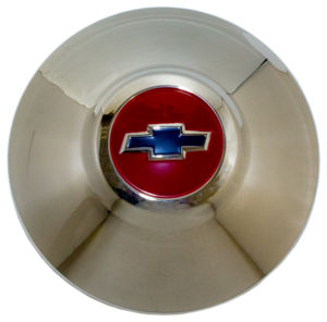 Hub Cap -Red Center, Blue Bowtie - Stainless Photo Main