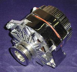 Alternator - Show Chrome. 6v, 60 Amp. 7.5 Volt Internally Regulated With 2 Groove Pulley Photo Main