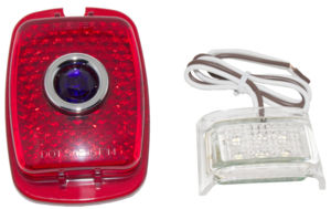 Tail Light Lens, LED W/ Blue Dot - (Red Lens) Left Side With Led License Light 12 Volt Photo Main
