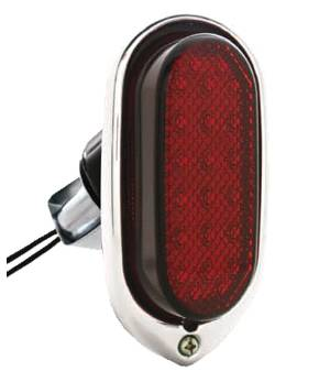 Tail Light Assembly - Plastic Lens, Chrome Rim, Black Housing. 12v With 1157 Plug - Led 12 Volt Photo Main