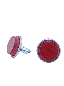 License Plate Fastener - Red Jewel Plastic Reflector Photo Main