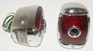 Tail Light Assembly -Right Side, Glass Lens With Blue Dot, Chrome Housing Photo Main