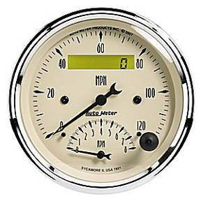 "Instrument Gauges - Auto Meter Antique Beige Series, 3-3/8"" Speedo Tach Combo Photo Main"