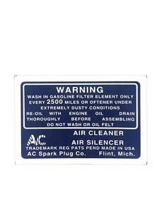 Decal - Air Cleaner, Dry Photo Main