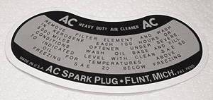 Air Cleaner Decal, Oil Bath Photo Main