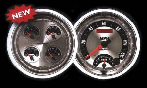 "Instrument Gauges - Auto Meter American Muscle Series, 5"" Quad, 6 Gauge Set (Electronic Speedo Tach Combo) Photo Main"