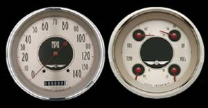 "Gauge Set - Classic Instruments - All American Nickel, 5"" Quad (5 Gauges) 12v Photo Main"