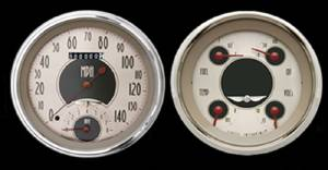 "Classic Instruments 5"" Speedtachular-Quad Gauge Set - All American Nickel Series 12v Photo Main"