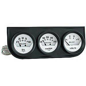 "Instrument Gauges - Auto Meter Autogage Series. 2-1/16"" White Face, Black Panel 3-Gauge Set: Oil, Volts (10-16) & Temp (130-280). Mechanical, Short Sweep Photo Main"