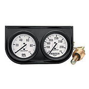 "Instrument Gauges - Auto Meter Autogage Series. 2-1/16"" White Face, Black Panel 2-Gauge Set: Oil & Temp (100-280). Mechanical, Full Sweep Photo Main"