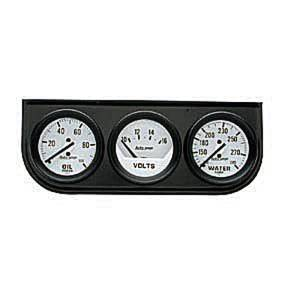 "Instrument Gauges - Auto Meter Autogage Series. 2-1/16"" White Face, Black Panel 3-Gauge Set: Oil, Volts (0-16) & Temp (100-280). Mechanical, Full Sweep Photo Main"