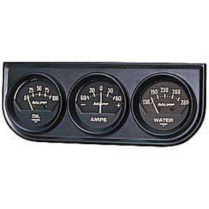"Instrument Gauges - Auto Meter Autogage Series. 2-1/16"" Black Face, Black Panel 3-Gauge Set: Oil, Amps (-60 +60) & Temp (130-280). Mechanical, Short Sweep Photo Main"