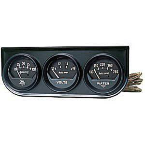 "Instrument Gauges - Auto Meter Autogage Series. 2-1/16"" Black Face, Black Panel 3-Gauge Set: Oil, Volts (10-16) & Temp (130-280). Mechanical, Short Sweep Photo Main"