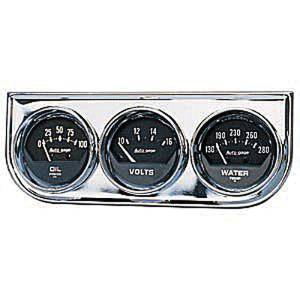 "Instrument Gauges - Auto Meter Autogage Series. 2-1/16"" Black Face, Chrome Panel 3-Gauge Set: Oil, Volts (10-16) & Temp (130-280). Mechanical Photo Main"