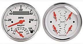 "Instrument Gauges - Auto Meter Arctic White Series, 3-3/8"" Speedo Tach Combo & Quad Gauge Set Photo Main"