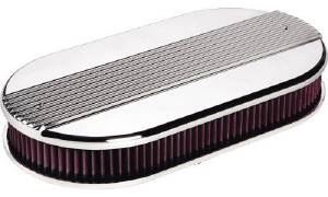 Air Cleaner, Billet Dual Quad. Ribbed, w/ K&N Air Filter Photo Main