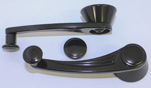 Window Crank, Billet Interior Ball Milled - GM/Ford 1949 & Up - Black Anodized Photo Main