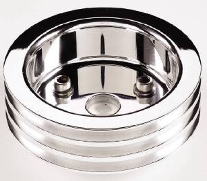 Crank Shaft Pulley, Billet Aluminum - Triple Groove -Short Water Pump Photo Main