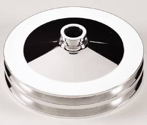 Power Steering Pulley, Billet Aluminum - Chevy SB, Double Groove, Press On Photo Main