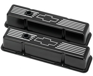Valve Covers Billet . Chevy SB, Bowtie - Tall Black Powdercoated Photo Main