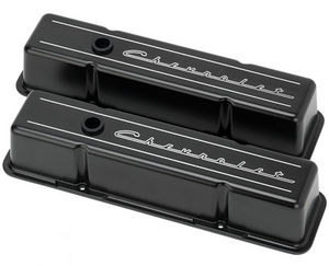 Valve Covers Billet Chevy Sb, Chevrolet Script - Tall Black Powdercoated Photo Main