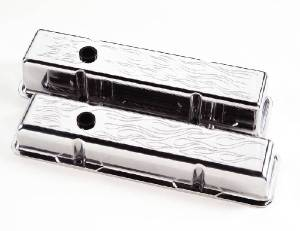 Valve Covers Billet. Chevy Sb, Flamed - Tall Photo Main