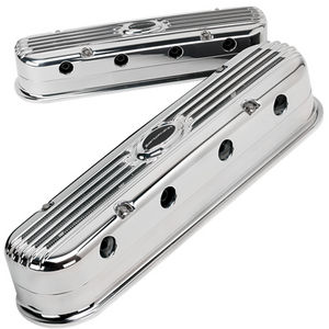 Valve Covers, Billet -Profile Series. Chevy LS1 Modular, Polished Ribbed Photo Main