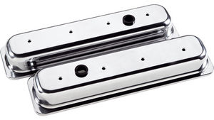 Valve Covers Billet . Chevy Sb, Center Bolt - Smooth - Short Photo Main