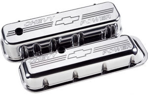 "Valve Covers, Chevy Big Block - Polished Billet ""Chevy Power"" - Short Photo Main"