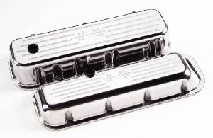 "Valve Covers, Chevy Big Block - Polished Billet ""Crossed Flags"" - Tall Photo Main"