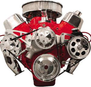 Pulley Kit, Serpentine System, Billet Aluminum, Mid Mount Alternator W/ P/S. Big Block Chevy, Long Water Pump Photo Main